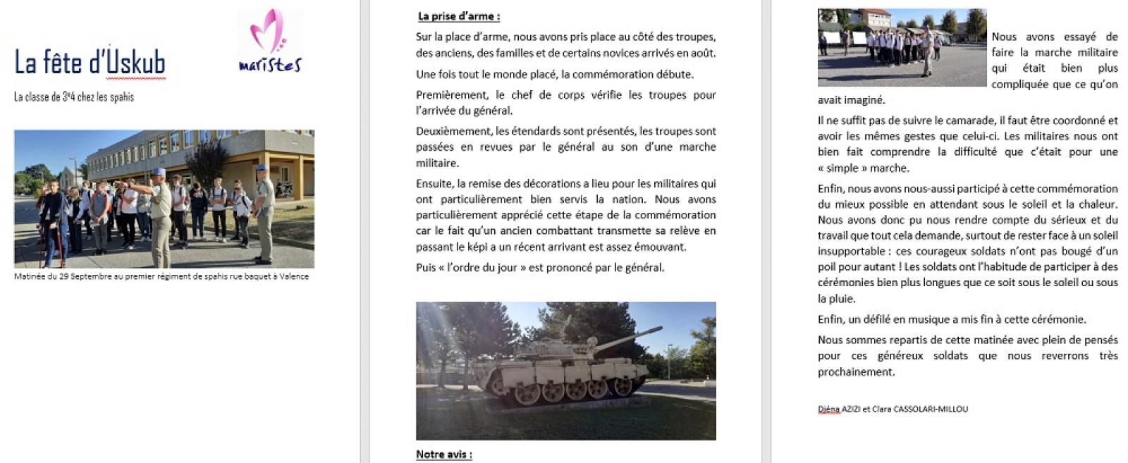 Visuel : Signature de la convention de la classe défense aux spahis